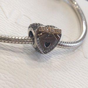 Pandora Charm Wedding Heart 100% AUTHENTIC 14K Bow
